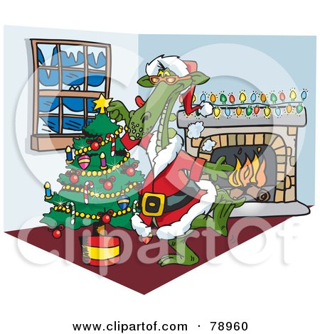 Royalty-Free (RF) Clipart Illustration of a Green Dragon Santa Decorating A Christmas Tree By A Fireplace by Dennis Holmes Designs