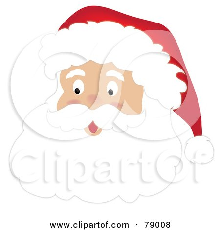 Royalty-Free (RF) Clipart Illustration of a Surprised Santa Claus Face With A White Beard, Mustache And Hat by Pams Clipart