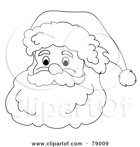 Royalty-Free (RF) Clipart Illustration of a Black And White Father Christmas Face With A White Beard, Mustache And Santa Hat by Pams Clipart
