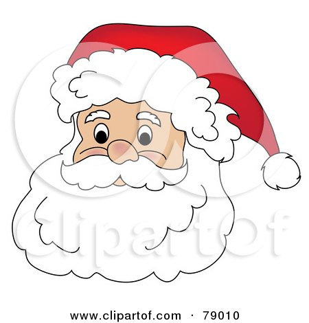 Royalty-Free (RF) Clipart Illustration of a Father Christmas Face With A White Beard, Mustache And Fluffy Santa Hat by Pams Clipart