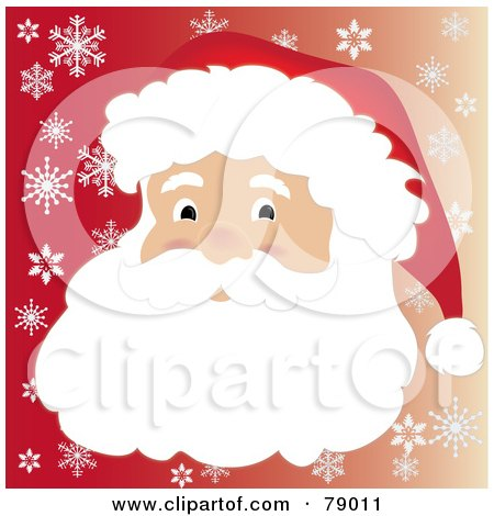 Royalty-Free (RF) Clipart Illustration of a Father Christmas Face With A Beard Mustache And Santa Hat Over A Gradient Red Snowflake Background by Pams Clipart