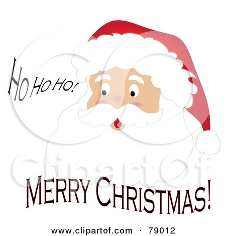 Royalty-Free (RF) Clipart Illustration of a Ho Ho Ho Merry Christmas Father Christmas Face by Pams Clipart