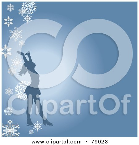 Royalty-Free (RF) Clipart Illustration of a Silhouetted Female Figure Skater Holding Her Arms Up On A Blue Background With Falling Snowflakes by Pams Clipart