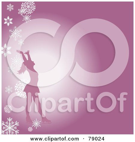 Royalty-Free (RF) Clipart Illustration of a Silhouetted Female Figure Skater Holding Her Arms Up On A Pink Background With Falling Snowflakes by Pams Clipart
