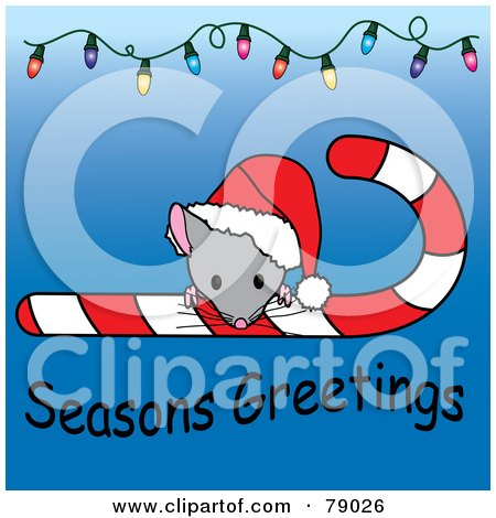 Royalty-Free (RF) Clipart Illustration of a Seasons Greetings Christmas Mouse Looking Over A Candy Cane And Wearing A Santa Hat, With Christmas Lights by Pams Clipart