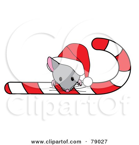 Royalty-Free (RF) Clipart Illustration of a Cute Christmas Mouse Looking Over A Candy Cane And Wearing A Santa Hat by Pams Clipart