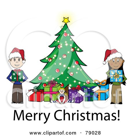 Royalty-Free (RF) Clipart Illustration of a Merry Christmas Stick Boy And Girl Holding Presents Beside A Christmas Tree by Pams Clipart