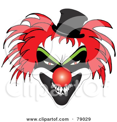 Royalty-Free (RF) Clipart Illustration of a Scary Red Haired Clown With A Red Nose And Evil Expression by Pams Clipart