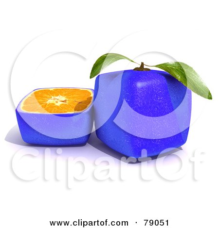 Royalty-Free (RF) Clipart Illustration of a Slice Resting Beside A Whole 3d Genetically Modified Cubic Blue Citrus Fruit Orange by Frank Boston