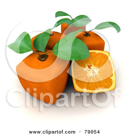Royalty-Free (RF) Clipart Illustration of Whole And Sliced 3d Genetically Modified Cubic Oranges - Version 3 by Frank Boston