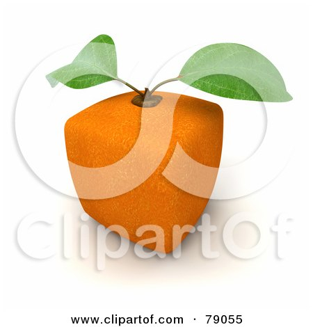 Royalty-Free (RF) Clipart Illustration of a Whole Cubic 3d Genetically Modified Orange Citrus Fruit - Version 2 by Frank Boston