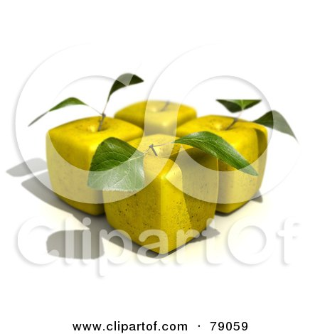 Royalty-Free (RF) Clipart Illustration of Four 3d Golden Delicious Cubic Genetically Modified Apples With Leaves - Version 1 by Frank Boston