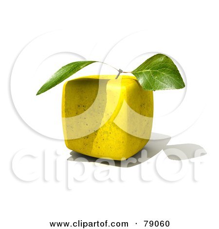 Royalty-Free (RF) Clipart Illustration of a Whole 3d Genetically Modified Cubic Golden Delicious Apple by Frank Boston