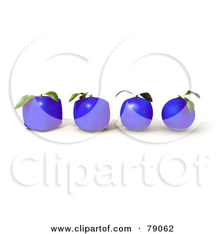 Royalty-Free (RF) Clipart Illustration of a Row Of Four 3d Blue Genetically Modified Orange Citrus Fruits by Frank Boston