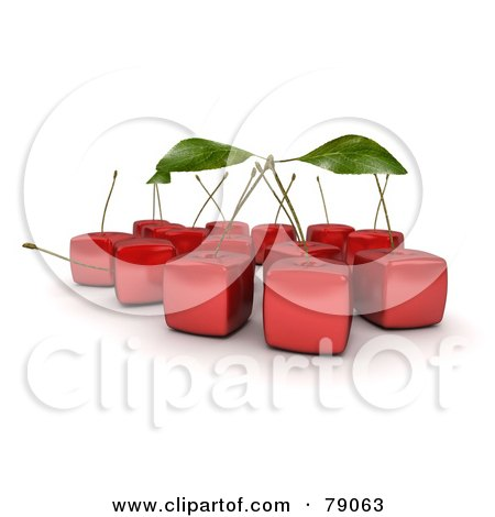 Royalty-Free (RF) Clipart Illustration of a Group Of 3d Cubic Genetically Modified Red Bing Cherries With Stems by Frank Boston