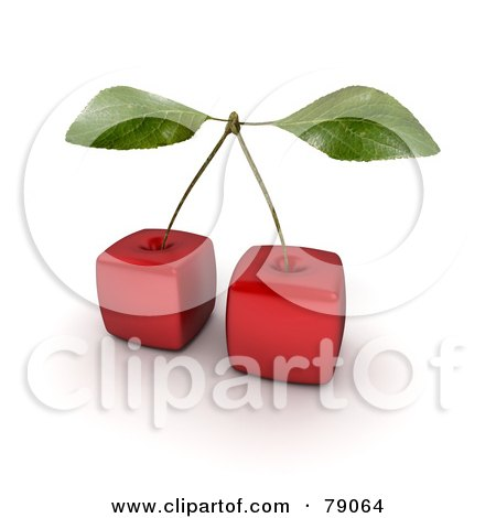 Royalty-Free (RF) Clipart Illustration of a Stem Connecting Two 3d Genetically Modified Cubic Cherries by Frank Boston