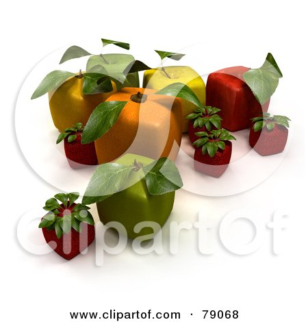 Royalty-Free (RF) Clipart Illustration of a Display Of 3d Cubic Genetically Modified Oranges, Apples, Strawberries And Cherries - Version 5 by Frank Boston