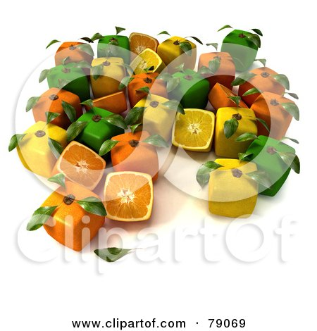 Royalty-Free (RF) Clipart Illustration of a Display Of Cubic Genetically Modified 3d Oranges, Lemons And Limes With Leaves by Frank Boston