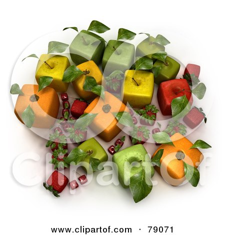 Royalty-Free (RF) Clipart Illustration of a Display Of 3d Cubic Genetically Modified Oranges, Apples, Strawberries And Cherries - Version 2 by Frank Boston