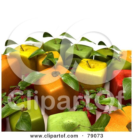 Royalty-Free (RF) Clipart Illustration of a Display Of 3d Cubic Genetically Modified Oranges, Apples, Strawberries And Cherries - Version 3 by Frank Boston