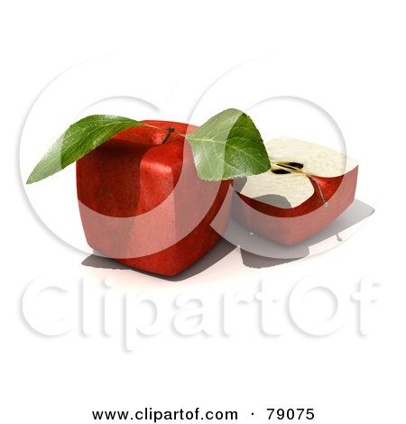 Royalty-Free (RF) Clipart Illustration of a Slice Resting Beside A Whole 3d Genetically Modified Cubic Red Delicious Apple by Frank Boston