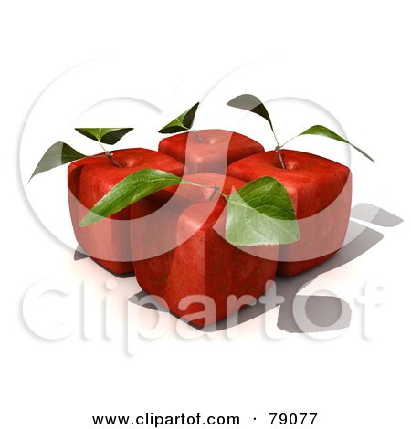 Royalty-Free (RF) Clipart Illustration of Four 3d Red Delicious Cubic Genetically Modified Apples With Leaves - Version 2 by Frank Boston