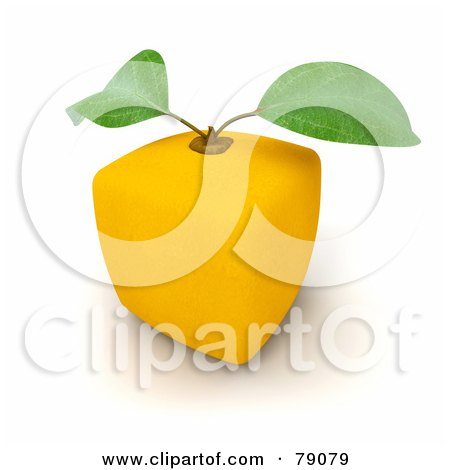 Royalty-Free (RF) Clipart Illustration of a Whole Cubic 3d Genetically Modified Lemon Citrus Fruit - Version 2 by Frank Boston