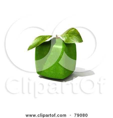 Royalty-Free (RF) Clipart Illustration of a Whole Cubic 3d Genetically Modified Lime Citrus Fruit by Frank Boston