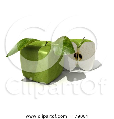 Royalty-Free (RF) Clipart Illustration of a Slice Resting Beside A Whole 3d Genetically Modified Cubic Granny Smith Apple - Version 2 by Frank Boston