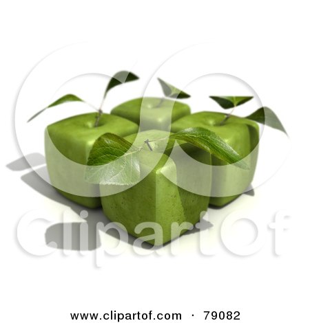 Royalty-Free (RF) Clipart Illustration of Four 3d Granny Smith Cubic Genetically Modified Apples With Leaves - Version 1 by Frank Boston