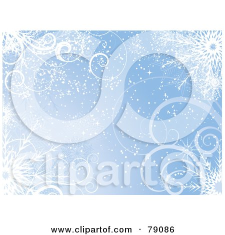 Royalty-Free (RF) Clipart Illustration of a Blue Swirl And Snowflake Wallpaper Background by KJ Pargeter