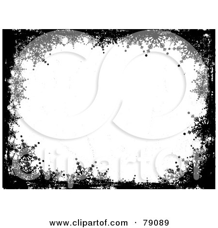 Black And White Grungy Snowflake Wallpaper Border Background