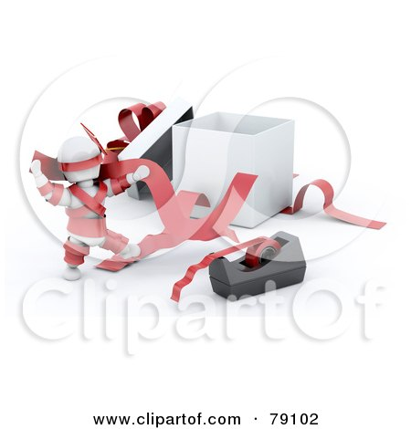 Royalty-Free (RF) Clipart Illustration of a 3d White Character Tangled In Tape And Ribbons By A Gift Box by KJ Pargeter
