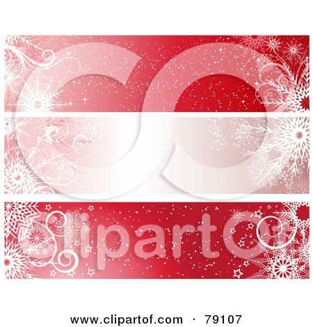 Royalty-Free (RF) Clipart Illustration of a Digital Collage Of Three Red Christmas Snowflake Website Headers by KJ Pargeter