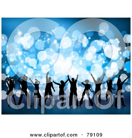 Royalty-Free (RF) Clipart Illustration of a Group Of Silhouetted Christmas Party Dancer People Against Blue Sparkles by KJ Pargeter