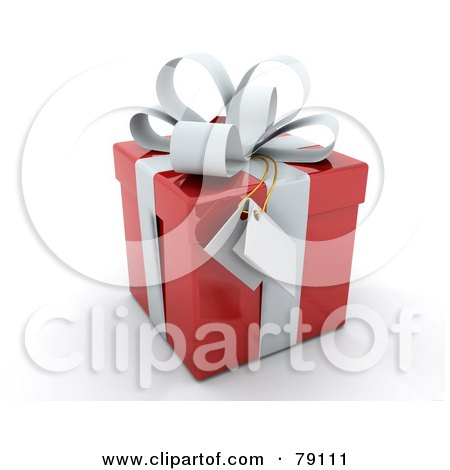 Royalty-Free (RF) Clipart Illustration of a Gift Tag Hanging From A White Bow On A 3d Red Gift Box by KJ Pargeter
