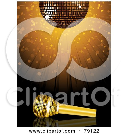 Royalty-Free (RF) Clipart Illustration of a Golden Microphone Under A Sparkly Disco Ball With A Burst by elaineitalia