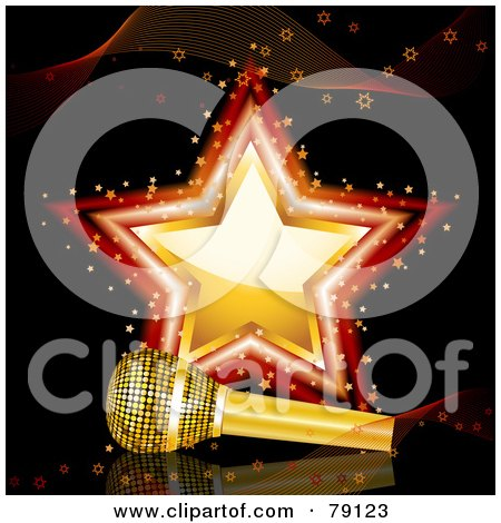 Royalty-Free (RF) Clipart Illustration of a Golden Microphone Resting In Front Of A Gold And Red Star On Black by elaineitalia
