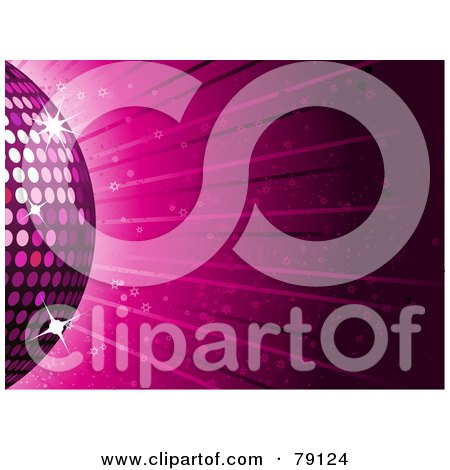 Royalty-Free (RF) Clipart Illustration of a Partial Pink Disco Ball On A Pink Ray Background With Stars by elaineitalia