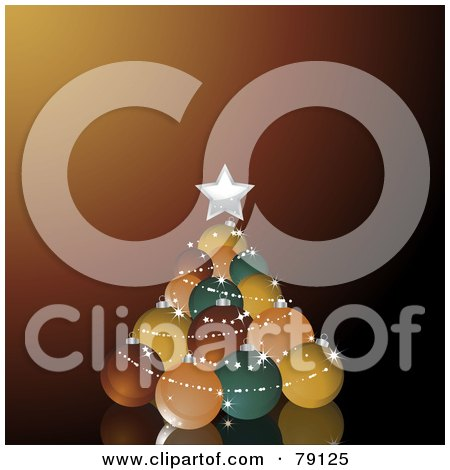 Royalty-Free (RF) Clipart Illustration of a Stack Of Retro Colored Christmas Balls Forming A Christmas Tree On Brown by elaineitalia
