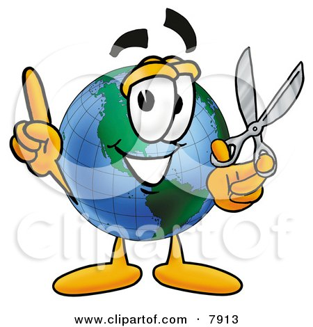 Clipart Picture of a World Earth Globe Mascot Cartoon Character Holding a Pair of Scissors by Toons4Biz
