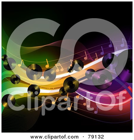 Royalty-Free (RF) Clipart Illustration of a Background Of Lp Records, Music Notes And Colorful Waves Over Black by elaineitalia