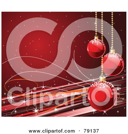 Royalty-Free (RF) Clipart Illustration of a Deep Red Horizontal Xmas Holiday Background With Christmas Balls, Lines And Sparkles by Pushkin