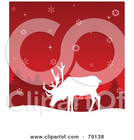 Royalty-Free (RF) Clipart Illustration of a White Reindeer Silhouette Under A Red Snowflake Sky by Pushkin