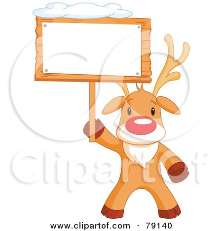 Royalty-Free (RF) Clipart Illustration of a Cute Rudolph The Red Nosed Reindeer Holding A Blank Sign Board With Snow On Top by Pushkin