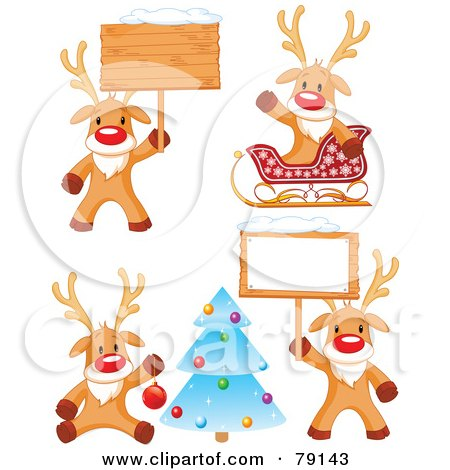 Royalty-Free (RF) Clipart Illustration of a Digital Collage Of Cute Rudolph The Red Nosed Reindeer Christmas Poses by Pushkin