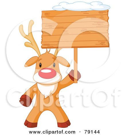 Royalty-Free (RF) Clipart Illustration of a Cute Rudolph The Red Nosed Reindeer Holding A Blank Wooden Sign Board With Snow On Top by Pushkin