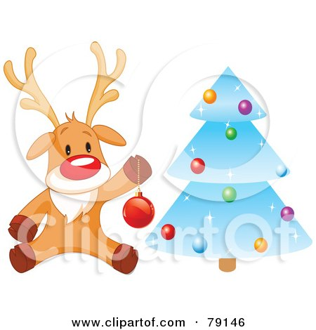Royalty-Free (RF) Clipart Illustration of a Cute Rudolph The Red Nosed Reindeer Hanging Baubles On A Blue Icy Christmas Tree by Pushkin