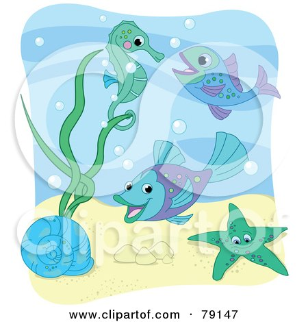 Royalty-Free (RF) Clipart Illustration of a Sea Snail, Starfish, Fish And Seahorse With Bubbles Under The Sea, With A White Border by Pushkin