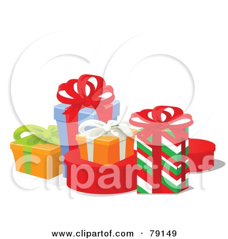 Royalty-Free (RF) Clipart Illustration of a Tidy Group Of Colorful Wrapped Gift Boxes With Ribbons And Bows by Pushkin